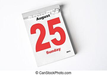 25 August 2013 - calendar sheet