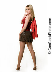 Woman in mini skirt - Full body of an attractive young blond...