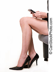 Woman\\\'s legs - Bare legs of woman wearing sexy black high...