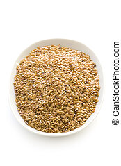 linseed or flaxseed isolated - linseed or flaxseed in a dish...