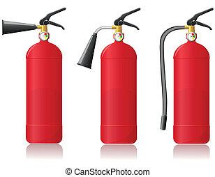 fuego, Extintor, vector