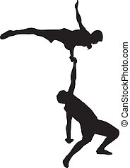 Acrobatics - Performance of two acrobats. Contour vector...