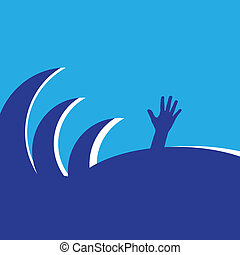 Drowning - Hand of drowning the waves. Vector illustration.