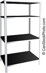 Industrial shelving for four shelves. Vector illustration.