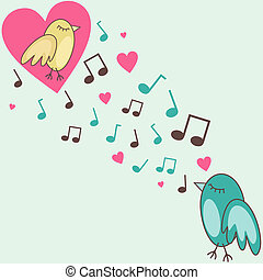 birds-in-love - vector illustration of birds singing a love...