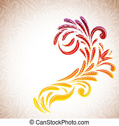 Floral branch on abstract background. Colorful illustration
