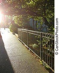 Sidewalk and sunshine - Urban sidewalk street in sunshine