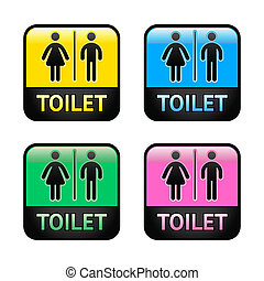 Restroom symbols set, colored buttons Vector design