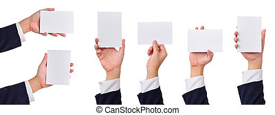 Collection of blank cards in a hand - Collection of blank...