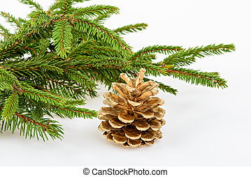 Golden pine cone with conifer