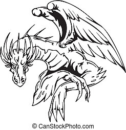 Dragon sitting - tattoo design EPS vector illustration