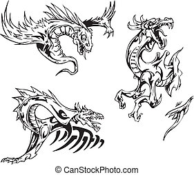 Dragon tattoos - Dragon tattoo designs. Set of vector...