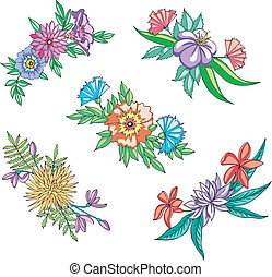 Miscellaneous flowers for ornaments. Set of vector...