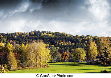 autumn colored landscape - landscape and golf-course in...