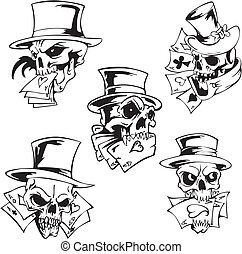 Skulls with playing cards Set of vector illustrations