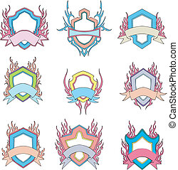Stylized shields with motto ribbons
