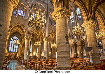 Notre Dam in Paris - interior of Notre Dam in Paris