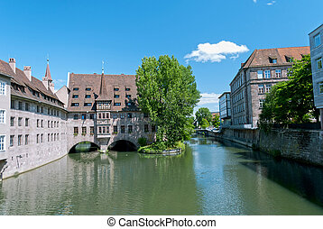 Nuremberg - View on the Pegnitz river in the center of...