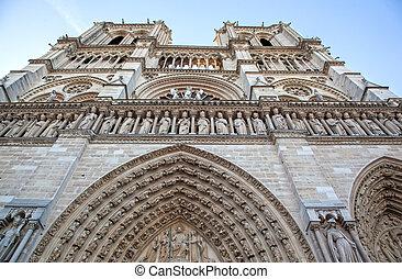 facade of Notre Dam in Paris