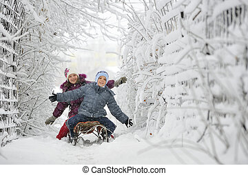 niños, corredizo, invierno, tiempo