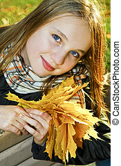 Teenage girl in the fall - Portrait of a beautiful teenage...
