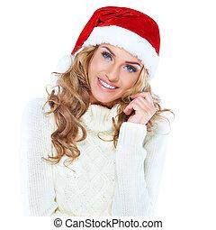 retrato, hermoso, mujer, Llevando, santa, sombrero