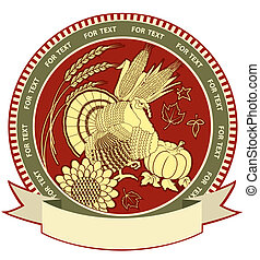 Thanksgiving symbol with holiday objects.Vector illustration...