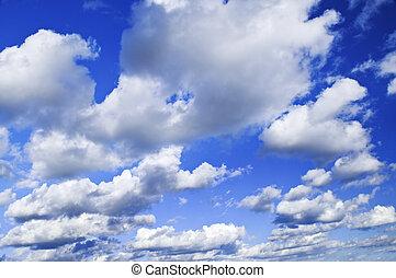 藍色, 云霧, 白色, 天空