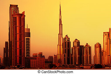 Dubai downtown on sunset - Picture of dubai downtown on...