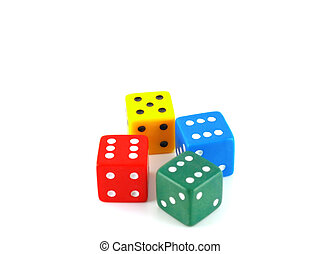 Four color dice over white