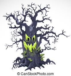 Terrible Halloween cartoon tree with a grin isolated on...