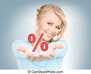 percent sign on the palms - beautiful woman showing percent...