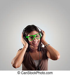 beautiful girl listen to music