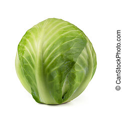 Cabbage - Green cabbage isolated on white