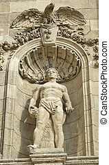 Statue of stone at famous  Fisherman's  Square in Budapest, Hungary