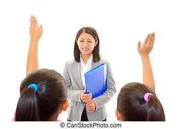Teacher with girls