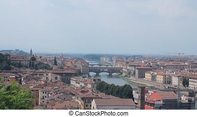 Panoramic of Florence, the %u201Cduomo%u201D, the Arno river...