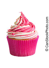 Cupcake - Raspberry ripple cupcake isolated against white