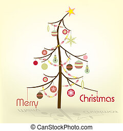 Christmas Tree - Retro Xmas Background, Vector