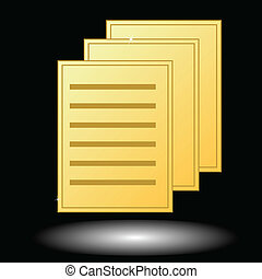 Gold document - New gold document on a black background