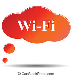Wi fi web icon - Wi Fi orange button isolated on white...