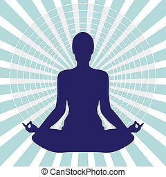 Meditation Into Circle - Pose Yoga Light Silhouette Isolated...