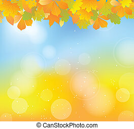 autumn leaves - autumn frame with plant leaves on abstract...