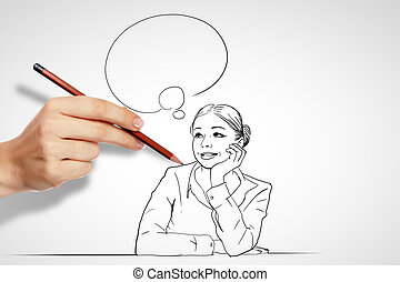 Questions and challenges in business drawing - Pencil...