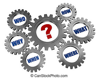 question-mark and words in gearwheels - red question-marks...