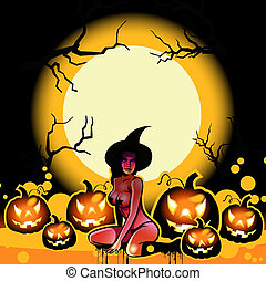 halloween witch and pumpkins on the moon - halloween...