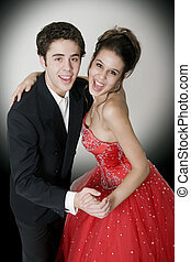 Ballroom Dancing - Boy & girl, in formal attire, dancing at...