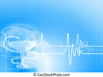 Heart beat illustration - Image of heart beat against colour...