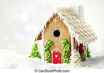 Gingerbread house with copy space to side