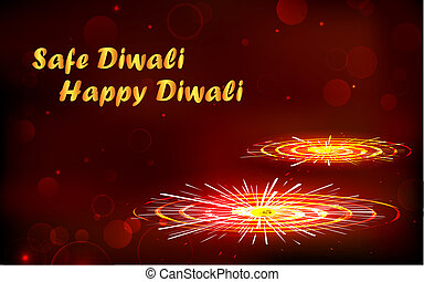 Safe and Happy Diwali - illustration of burning firecracker...